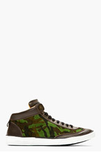 JIMMY CHOO Green Suede Camo Print Varley Sneakers for men
