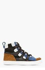 KRISVANASSCHE Black Panelled High-Top Sneakers for men