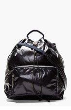 MARNI NAVY Patent Messenger Bag for men
