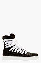 KRISVANASSCHE Black Croc-Embossed Overlaced High-Top Sneakers for men