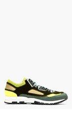 LANVIN Green Mesh Panel Sneakers for men