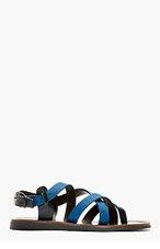LANVIN Blue Criss-Cross Strap Sandals for men