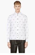 KRISVANASSCHE White Paisley Pattern Button Down Shirt for men