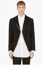 ANN DEMEULEMEESTER Black Floral-lapel Blazer for men