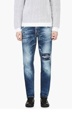 DSQUARED2 Blue Distressed Paint Speckled Jeans for men
