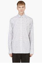 ANN DEMEULEMEESTER White Flocked Button Down Shirt for men