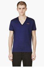 DSQUARED2 Indigo LOGO V-NECK T-shirt for men