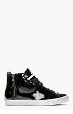 DIESEL Black Patent Leather D-Zippy Sneakers for men