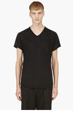 ANN DEMEULEMEESTER Black FLORAL V-NECK T-shirt for men