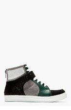 KRISVANASSCHE Grey Suede Panelled High-Top Sneakers for men
