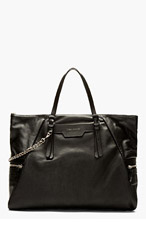 JIMMY CHOO BLACK LEATHER Chain-trimmed TOTE for men