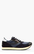 DIESEL Navy Suede Low Top Sneakers for men
