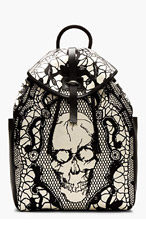 ALEXANDER MCQUEEN Black & ivory Leather LACE SKULL Print BACKPACK for men