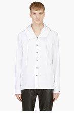 ANN DEMEULEMEESTER White Hooded Button Down Shirt for men