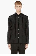 ANN DEMEULEMEESTER Black Velvet Stripe Sheer Button Down Shirt for men