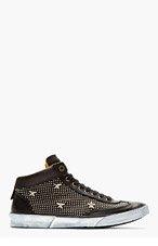 JIMMY CHOO Black Leather Stars & Studs Varley Sneakers for men