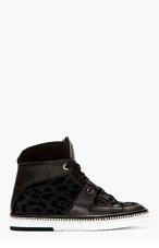 JIMMY CHOO Black Leopard Barlowe High-Top Sneakers for men