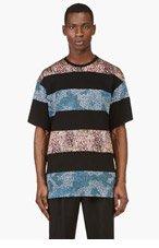 MIHARA YASUHIRO Black, Blue & Orange Fabric Blocked T-Shirt for men