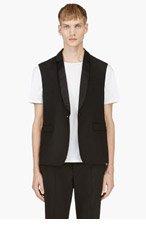 KRISVANASSCHE Black Sleeveless Tuxedo Vest for men