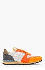 VALENTINO Orange & Grey Studded Sneakers for men