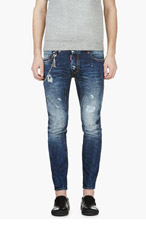 DSQUARED2 Blue Distressed & chain-trimmed Tidy Biker Jeans for men