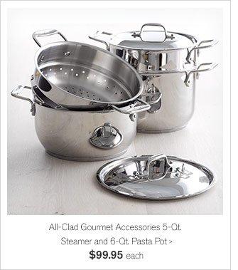 All-Clad Gourmet Accessories 5-Qt. Steamer and 6-Qt. Pasta Pot, $99.95 each