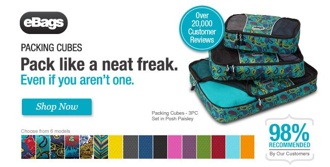 eBags Packing Cubes. Pack Like a Neat Freak. Even if You Aren't One. Shop Now.