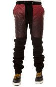 The Ombre Quilted Vegan Leather Pocket Sweatpants in Black & Red