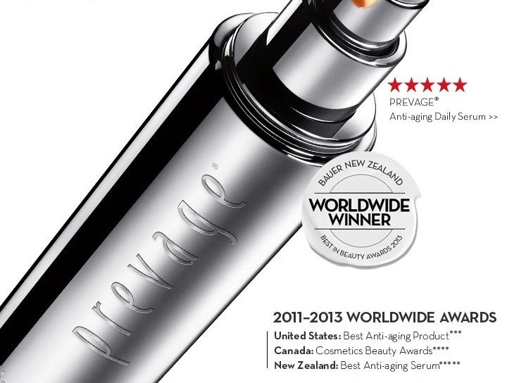PREVAGE® Anti-aging Daily Serum. 2011-2013 WORLDWIDE AWARDS. United States: Best Anti-aging Product*** Canada Cosmetics Beauty Awards**** New Zealand: Best Anti-aging Serum*****