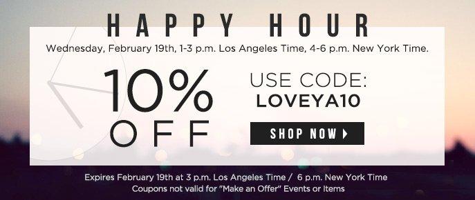 Happy Hour - $20 Off $100
