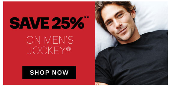 Save 25%** on Men's Jockey®. Shop Now.