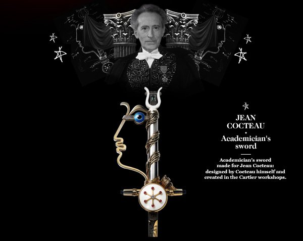 JEAN COCTEAU - Academician's sword - Academician's sword made for Jean Cocteau: designed by Cocteau himself and created in the Cartier workshops.