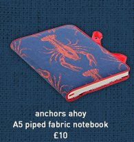 anchors ahoy a5 piped fabric notebook