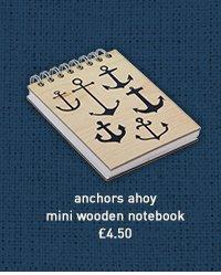 anchors ahoy mini wooden notebook