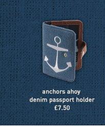 anchors ahoy denim passport holder