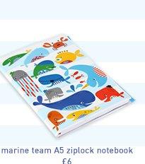marine team a5 ziplock notebook