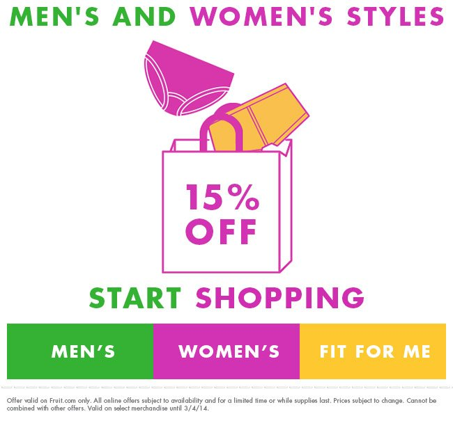 Men's and Women's Styles 15% off. Start Shopping