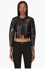 DSQUARED2 Black Cropped Biker Jacket for women