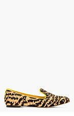 DSQUARED2 Tan & Gold Calf-hair Studded Zebra Loafers for women