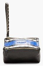GIVENCHY Black & Cobalt Pandorina Leather & Snakeskin Clutch for women