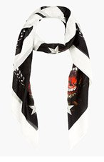 GIVENCHY Black Rottweiller & logo Scarf for women