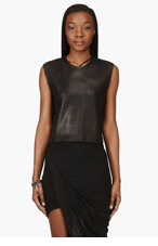 HELMUT LANG Black Leather Mesh Sift Tank Top for women