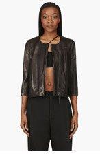 HELMUT LANG Black leather Cropped Petal Jacket for women