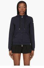 MONCLER Navy Zip-Up Hoodie for women