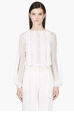 ZUHAIR MURAD White Sheer Lace Blouse for women