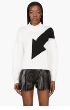MCQ ALEXANDER MCQUEEN White & Black Colorblocked Sweater for women