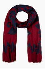 MARC JACOBS Burgundy & blue Floral print fringed Scarf for women
