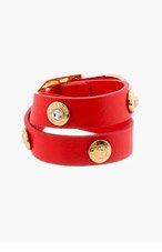 VERSACE Vermilion Leather Wrap Bracelet for women