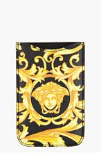 VERSACE Black & Yellow Printed Leather Phone Case for women