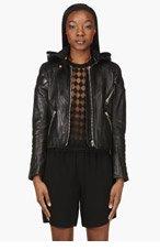 ACNE STUDIOS Black Leather Hooded Magna Biker Jacket for women